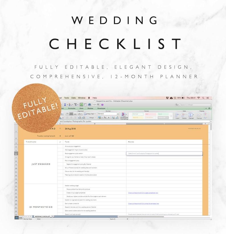 Editable Wedding Checklist Excel Spreadsheet  12 Month image 0