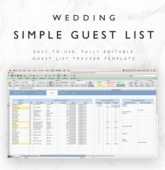Wedding Guest List Spreadsheet Tracker