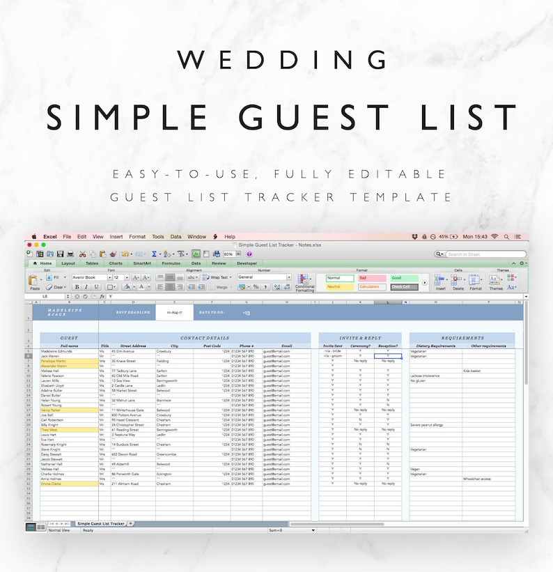 Wedding Guest List Spreadsheet Wedding Guest List Tracker ...