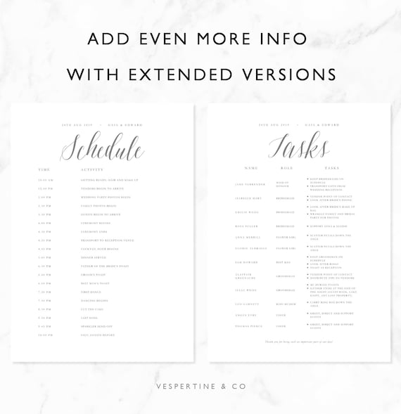 Wedding Timeline Template Bridal Wedding Day Schedule Tasks List Packing List Editable Word Document A4 Us Letter Gaia Suite