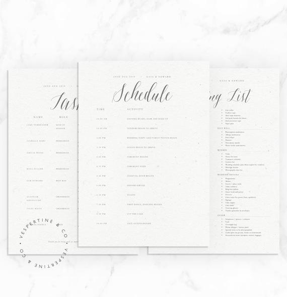 Tasks List \u00b7 Editable in Microsoft Word Packing List Wedding Timeline Template \u00b7 Bridal Wedding Day Schedule Apple Pages \u00b7 Violet Suite