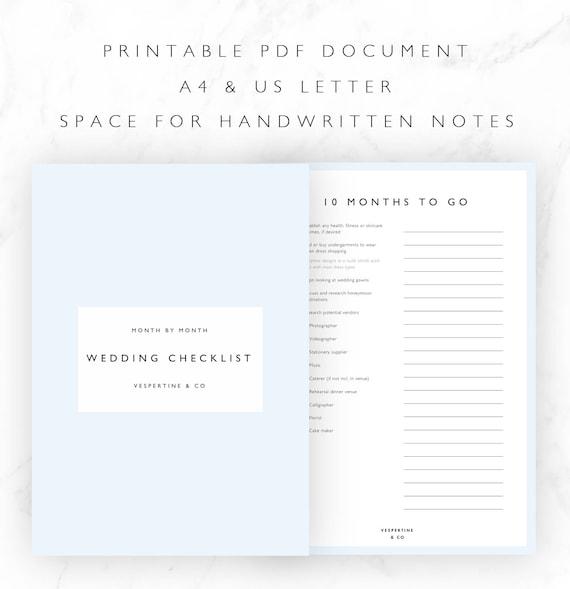 Checkliste Druckbare 12 Monate Hochzeit Planen Checkliste Etsy