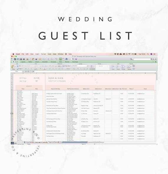 Wedding Guest List Planner And Guest List Tracker Excel Spreadsheet Wedding Rsvp Tracker Address Tracker Gift Tracker Fully Editable