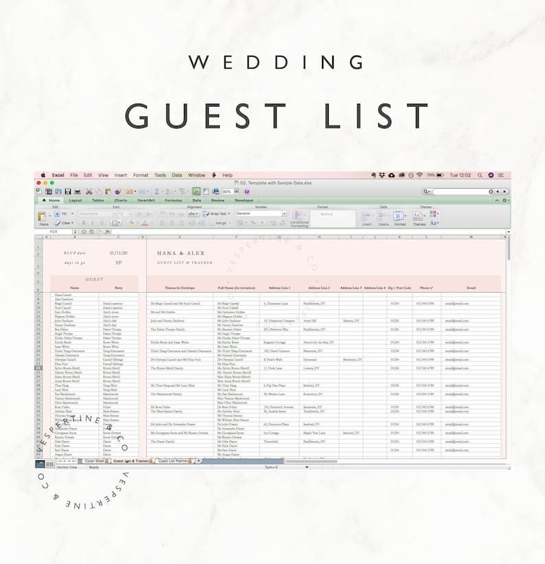 Wedding Guest List Planner and Guest List Tracker  Excel image 0