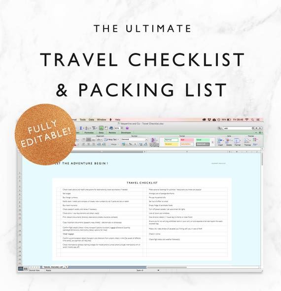Travel Checklist Travel Packing List Travel Planning Etsy
