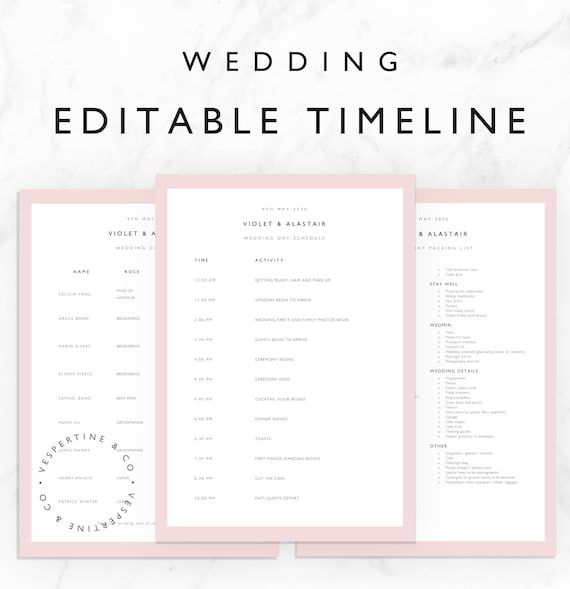 wedding timeline template bridal wedding day schedule etsy