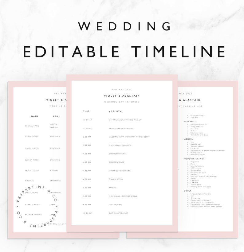 wedding timeline template bridal wedding day schedule etsy. Black Bedroom Furniture Sets. Home Design Ideas