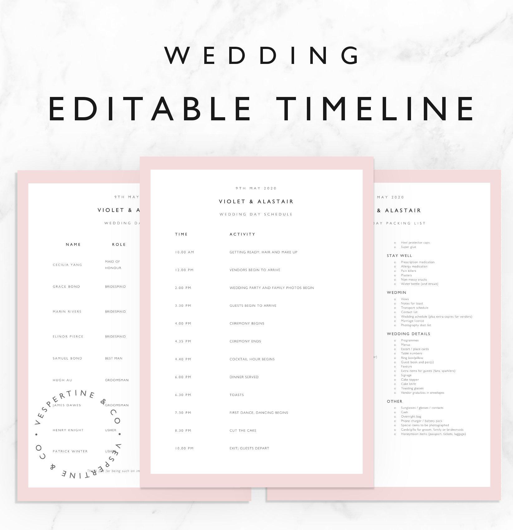 Hochzeit Timeline Vorlage Braut Hochzeit Tag planen