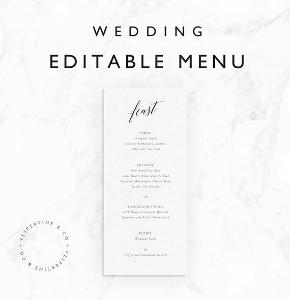 Emilie Wedding Menu Template Feast Menu Template Menu Card Template Printable Editable Word Document Instant Download Minimal