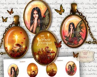 4 Images digitales pour cabochons AMOUR FEERIQUE- Aquarelle Originale - images numeriques - planche image cabochon - images cabochon