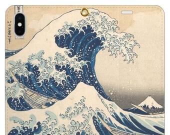 "Beltless Wallet Phone case ""Under the Wave off Kanagawa"""