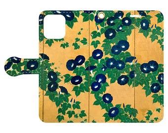 "Wallet phone case ""Suzuki Kiitsu Morning Glories""  iPhone12 / iPhone11 / iPhone XR / iPhoneXS Max / iPhone X / iPhone8 / iPhone7"