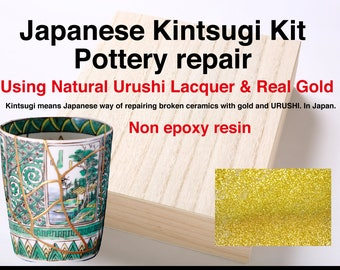 Authentic Kintsugi Kit   Real Gold Powder & Real Urushi Lacquer   Made in JAPAN