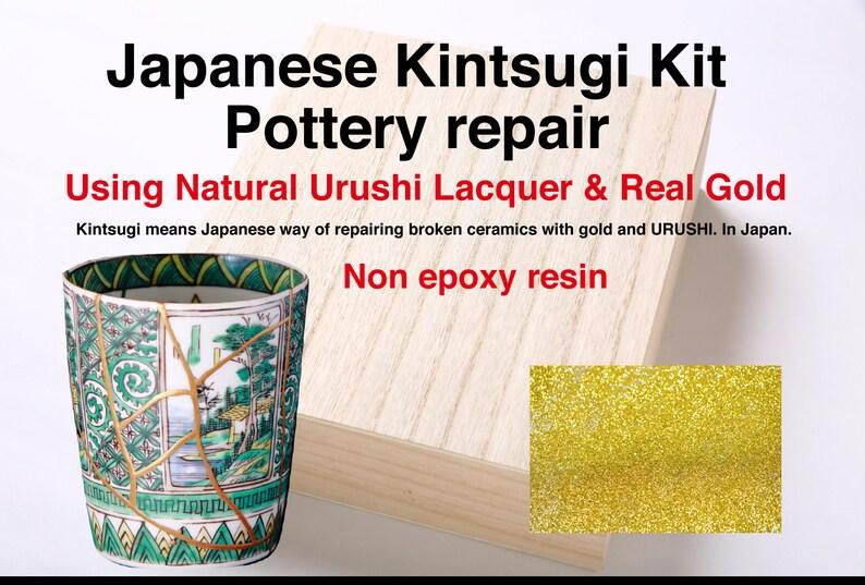 Kintsugi Kit  Natural Japanese Urushi Real Gold Powder 0.3g image 0