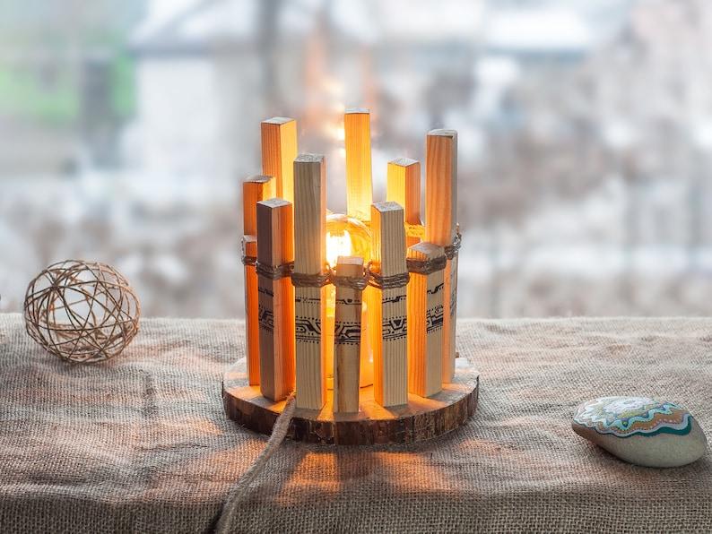 Retro Lampen Led : Wood lamp wooden lamp retro lamp wooden table lamp round etsy