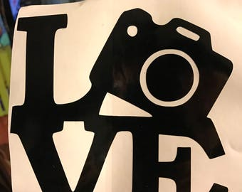 Camera 'LOVE' Sculpture photography vinyl decal