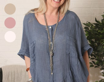 27b28cfc6a052 Lagenlook Ladies Textured Striped Linen Tunic Top with Shell Buttons