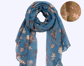 Vintage Floral Bird Scarf Monogrammed Khaki Blue Personalized Scarf Bird Shawl Scarf Boho Scarf Winter Scarf Oversized Scarf Gift for Her