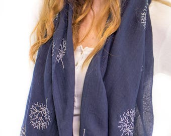 Womens Navy Scarf Monogrammed Scarf Oversized Navy Scarf Personalized Gift Best Winter Scarf Gift for Her,Mother Gift,Bridesmaids Gift
