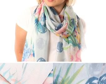 circle loop infinity scarf rayon girly fashion retro flower print tropical