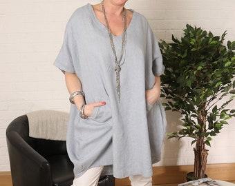 L linen material mix oversize size Lagenlook wearer tunic HW900W dress lagen-look tunic Gr 40 42 44 wearable white