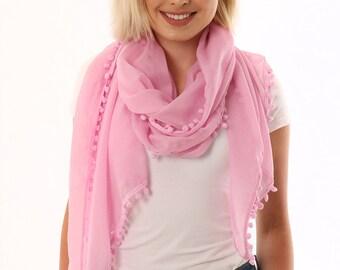 66735b1cf21 Pom pom scarf   Etsy