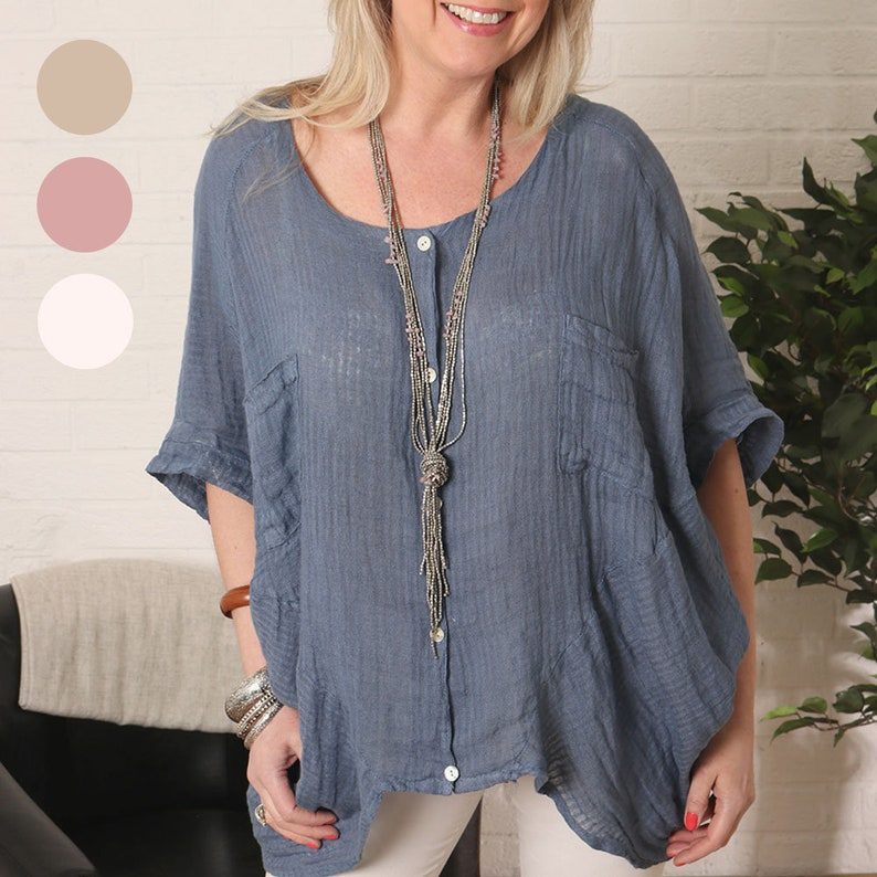 3677da11220 Lagenlook Ladies Textured Striped Linen Tunic Top with Shell
