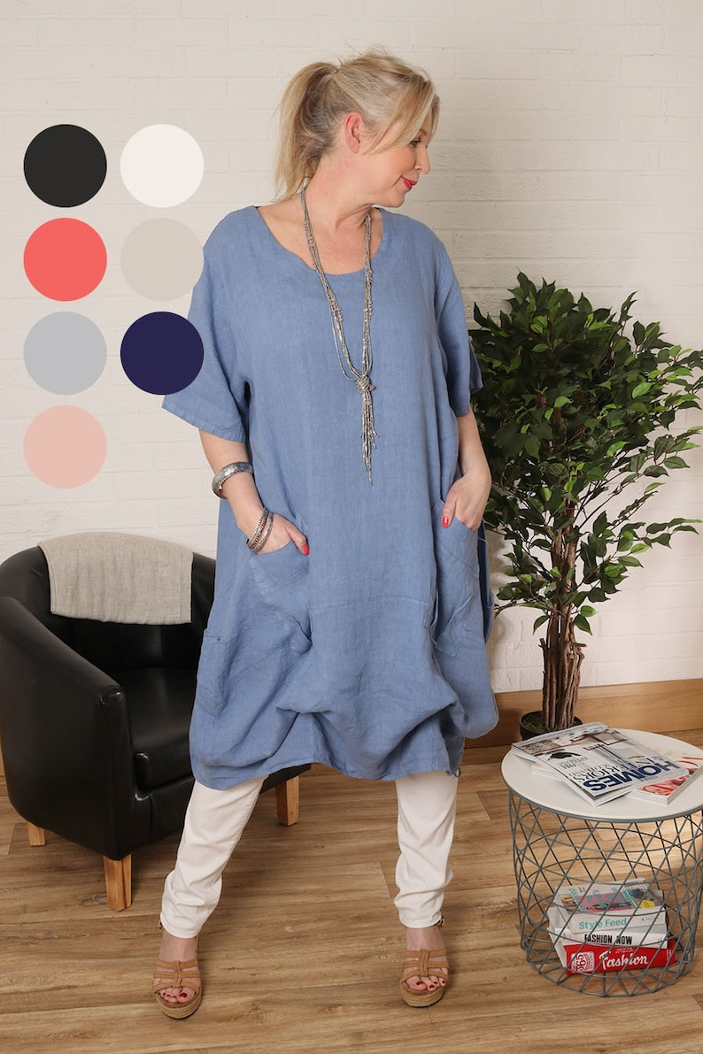a732ab8c607 Lagenlook Ladies Scoop Neck Dress With   Pockets Linen Tunic