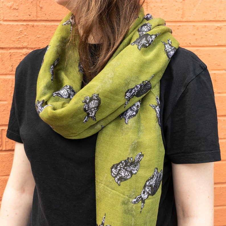 SCARF SHAWL WRAP WITH CUTE RABBIT BUNNY PET ANIMAL PRINT FOR LADIES WOMEN
