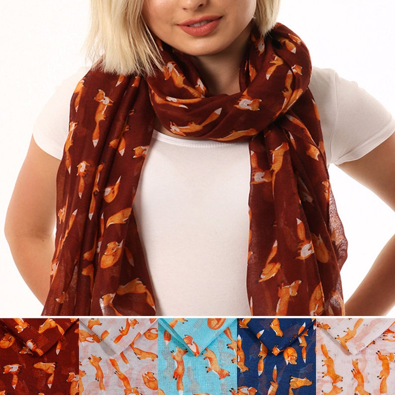 Personalised Fox Scarf Animal Print Quirky