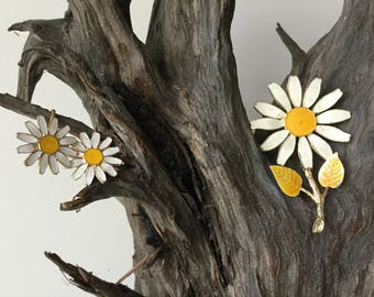 Daisy brooch and fabulous clip earrings