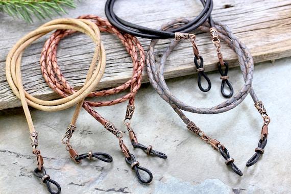 Rustic Braided Leather Eyeglass Holder Mens Eyeglass Chain | Etsy