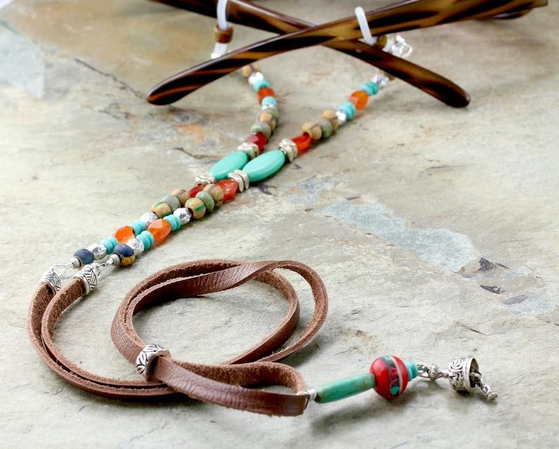 Tribal Turquoise Leather Eyeglass Chain, Boho Glasses Chain, Silver Turquoise Leather Sunglasses Holder Cord, Leather Eyeglass Holder Strap