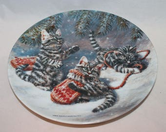 """Amy Brackenbury's Cat Tales Collection """"Kittens and Mittens: Silver Tabbies"""" Collectible Plate"""
