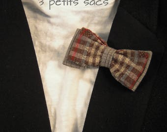 Bow tie Plaid and prince of Wales 100% cotton, mounted on a metal clip