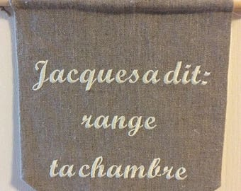 """Embroidered linen banner """"Simon says tidy your room"""""""