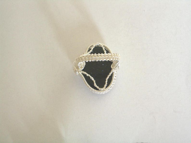 Sterling Silver Blue Goldstone Jewellery Set-Sterling Silver Pendant-Sterling Silver Earrings-Silver Filled Goldstone Ring-925 Silver-Gift