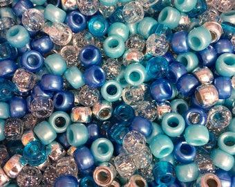 100 Mermaid Pony Beads Mix Dummy Seaglass Green Blue Glitter Matte Clear