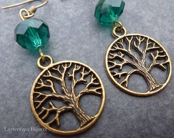 Earrings - simple Bronze - encircled trees