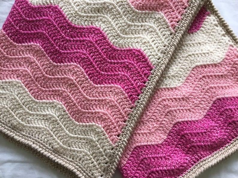 || Crochet Ombre Ripple Blanket. Pink Crochet Baby Blanket || Pink Chevron Baby Blanket || Pink Baby Blanket