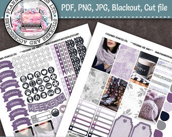 PRINTABLE Classic Medium Happy Planner Weekly Stickers Purple Watercolor Fashion Winter Functional INSTANT DOWNLOAD Boots Boxes Teardrops