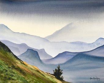 847ec324b Mountain grandeur, mountain paintings, misty mountains, misty paintings,  moody watercolours, watercolour landscape, english watercolours.