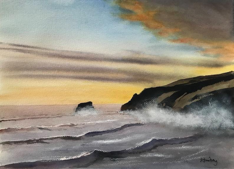Paesaggio marino pittura paesaggi marini cielo lunatico | Etsy