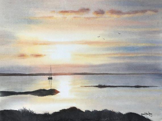 Luce di estuario, paesaggi marini, acqua dipinti, tramonti, cloudscapes,  paesaggio acquerello, acquerelli originali, di paesaggi all\'acquerello.
