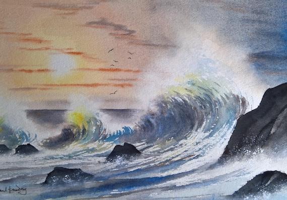 Ruvido mare mosso paesaggi marini acquerelli originali   Etsy
