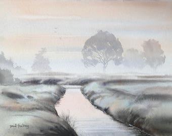Winter river, winter, winter landscape, misty landscape, misty, river landscape, rivers, river paintings, wet in wet, landscape watercolojr.