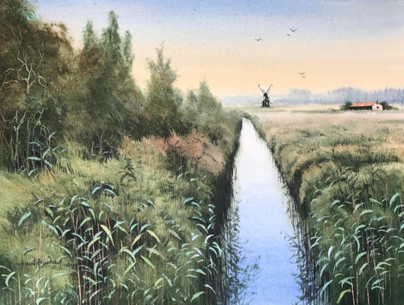 Wicken Christmas.Wicken Fen Cambridgeshire Fen Country Fens Reed Beds Waterscapes Rivers Water Paintings Countryside Trees Landscape Watercolour