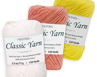 Cotton Yarn AssortmentKhaki Green Lavender Hot Pink2.5oz // Ball 3