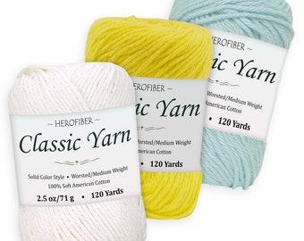 Cotton Yarn | Maize Yellow WorstedMedium Weight Simply Blue 2.5 oz Each Dark Denim Assortment for Knitting, 3 Solid Colors