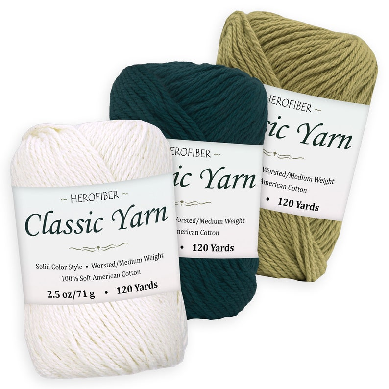 Olive Dark Turquoise Assortment for Knitting, Cotton Yarn | Coconut White 2.5 oz Each WorstedMedium Weight 3 Solid Colors
